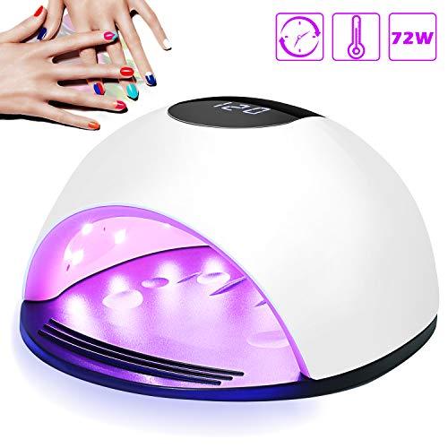 Lampada Unghie UV LED, Nivlan 72W Fornetto Unghie Professionale per Manicure e Pedicure con Sensore Automatico, 4 Timers da 10s/30s/60s/120s, LCD Display Lampada per unghie per Gel Nail Polish Light