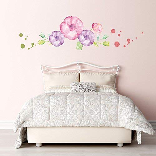Livingstyle & Wanddesign Adesivo da Parete Decalcomania Adesivo Muro Tatuaggio Colori ad Acqua Acqua Colorata Fiori Watercolor - 80cm x 23cm