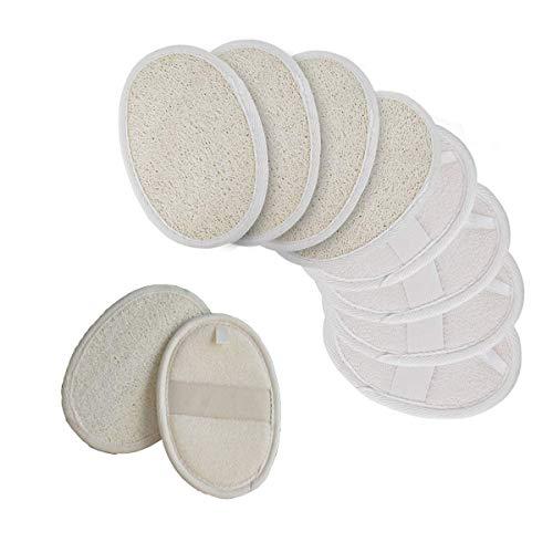 Xumier 10pcs 100% luffa naturale e materiale in spugna Luffa Esfoliante Pad Loofah Luffa Bagno Doccia Spugna Scrubber per schiena e viso ideali per il bagno e il trattamento spa