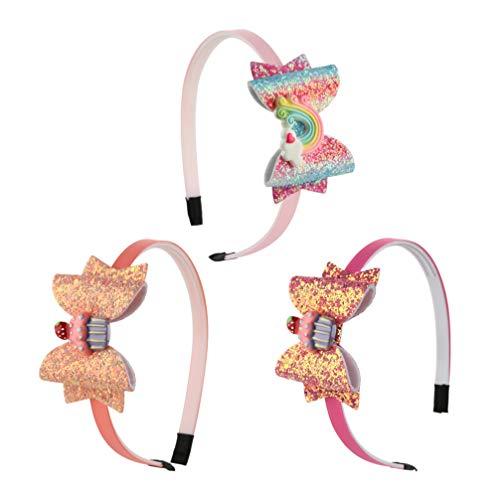 Minkissy cerchietti per capelli con fiocchi di paillettes glitter cerchi con arcobaleni arco nodo denti fasce per capelli in plastica per bambine 3 pezzi (modello 1)