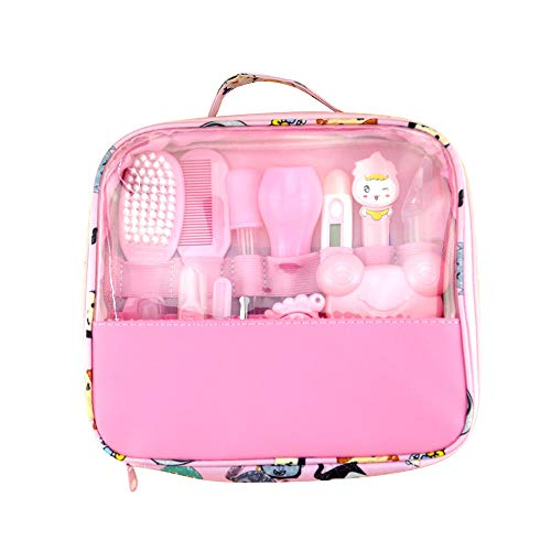 lulalula Baby Healthcare Kit, Baby Nail Care Set per Neonato, Baby Grooming Kit Beauty Set 13Pezzi con termometro e Borsa per Il Trasporto, Rosa, 24x21cm