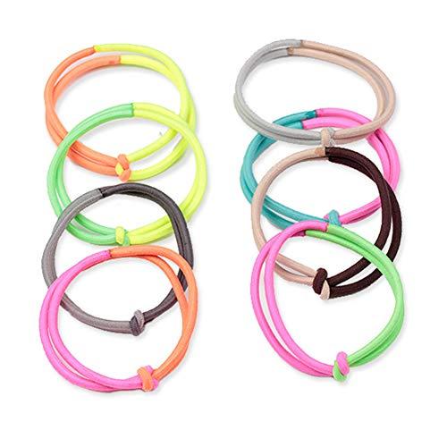 10pcs moda assortiti anelli di capelli di colore cerchio doppio filo corde elastiche cerchio di capelli titolare coda di cavallo scrunchies accessori per capelli ragazze adolescenti colore casuale