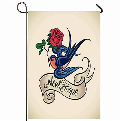 Bandiera giardino esterno 12,5 'x 18' pollici Blu Oldschool vecchio stile tatuaggio fortuna fortuna rondine colori rosa vintage rosso marinaio uccello nastro jerry scroll stagionale decorazioni per la