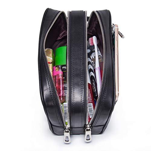 Contatti Vera Pelle Doppia Zip Toiletry Bag Uomo Dopp Kit Bottiglie Da Viaggio Nero, Nero (Nero) - MC