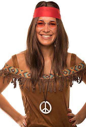 Balinco Hippie Set con Parrucca + Arrondata Occhiali da Sole + Peace Ciondolo + Rosso Fascia per Donna & Uomo Anni '70anni' 70 Anni Carnevale