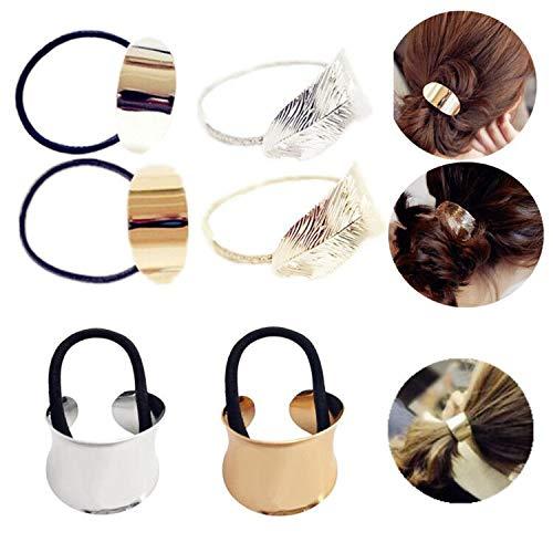 JinYu, 6 fasce per capelli in metallo, per capelli e coda di cavallo, in metallo, per donne e ragazze