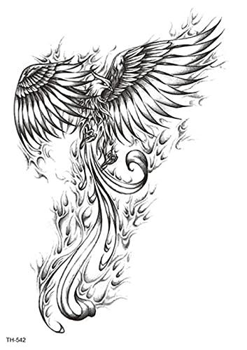 Braccio Di Fuoco Dell'Uccello Del Dio Fenice 15X21cm-5Pcs Tatuaggi Temporanei Foglio Adesivo Pizzo Sposa Varietà Matrimonio Piccoli Tatuaggi Temporanei Impermeabili Per Bambini Adulti