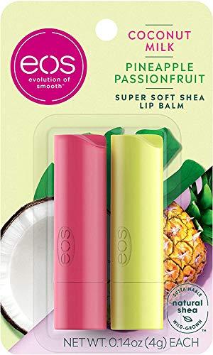 Eos Balsamo per labbra al burro di karitè, al latte di cocco e all'ananas e passion fruit, idratazione 24 ore su 24, per idratare le labbra secche, senza glutine