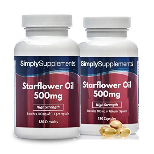 Olio di Borragine 500 mg - 360 capsule - 1 anno di trattamento - SimplySupplements