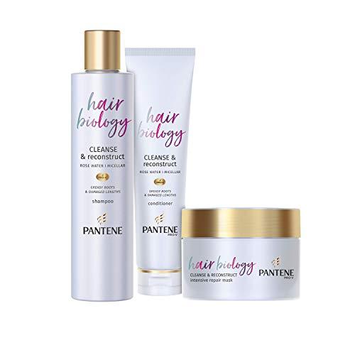 Pantene Pro-V Hair Biology Cleanse and Restruct Shampoo e Balsamo Set Chiarendo Shampoo con Acqua Micellare, Balsamo per Capelli e Maschera per Capelli