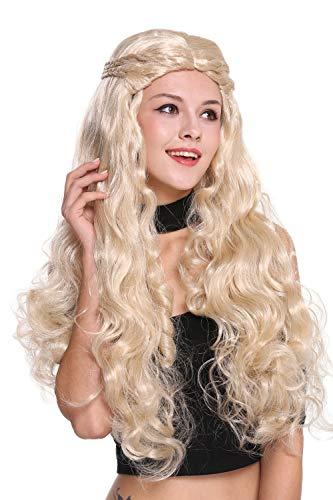 WIG ME UP - 91323-ZA83 Parrucca Donna Molto Lunga Ondulata Biondo Chiaro Elaborata Trecce Riga in Mezzo Romanticismo Fiabe Principessa Hippy