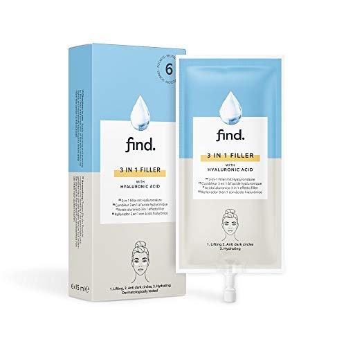 FIND - Filler con acido ialuronico 3 in 1 (levigante, anti-occhiaie, azione drenante), 6 unità x 15 ml