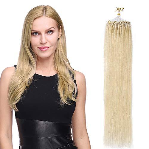 Extension Capelli Veri con Microring Anelli 100 Ciocche 50g Loop Hair Extensions 40cm Remy Human Hair - 613 Biondo Sbiancante