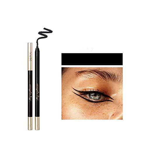 HIROCK Eyeliner impermeabile, matita per il trucco ad asciugatura rapida, waterproof eyeliner nero antimacchia di lunga durata con temperamatite (Nero)
