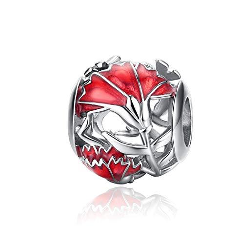 YOAME - Charm in argento Sterling, a forma di garofano forato, con zirconi cubici, smaltato rosso, compatibile con braccialetti e collane Pandora