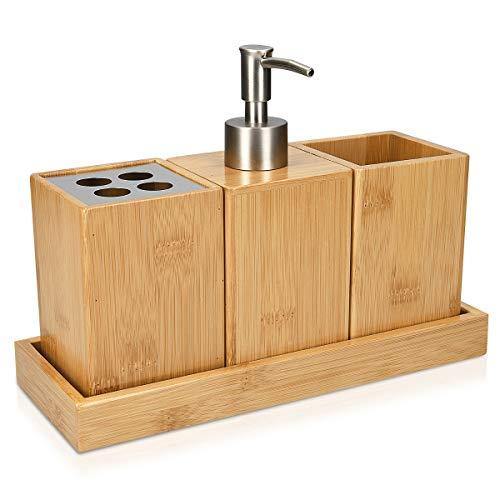 Navaris Set Accessori Bagno in bambù 4 Pezzi - Porta-Spazzolino Dispenser Porta-Sapone Bicchiere Porta-Oggetti e Vassoio - Kit Legno 25x10,5x18,5cm