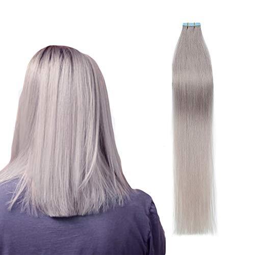 60cm Extension Capelli Veri Biadesivo #Grigio Tape on Extension 100% Remy Human Hair Capelli Lisci Naturali, 10 Fasce Pesa 25g