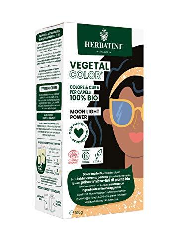 Herbatint Vegetal Color – Colorazione vegetale 100% naturale e bio MOON LIGHT POWER – Nero 100 gr