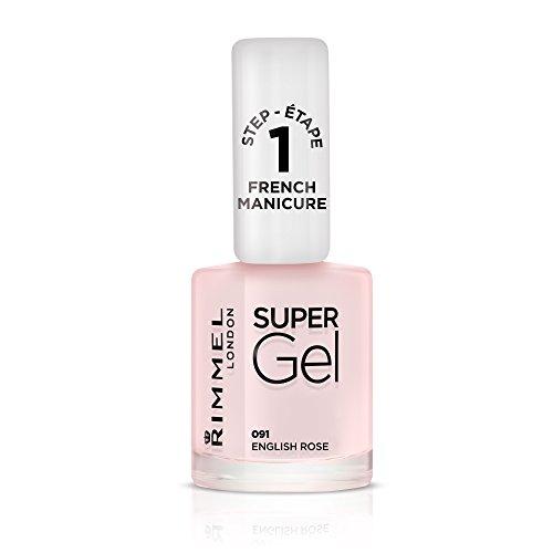 Rimmel London Super Gel French Manicure Smalto Unghie Effetto Nail Polish Gel a Lunga Durata, 12 ml, 091 English Rose