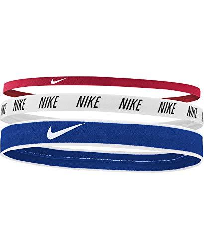 Nike Sport Mixed Width Hairbands - Elastici Misti per Capelli (Taglia Unica, Bianco/Blu/Rosso)