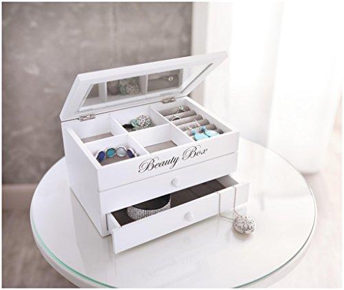 Portagioie in legno 'Beauty Box', bianco