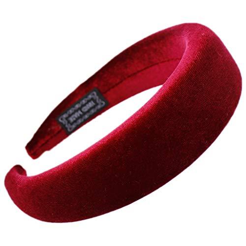 Siwetg - Cerchietto per capelli da donna, imbottito ed elastico, in velluto lucido, morbido, colorato, per feste, 11 colori disponibili Bordeaux