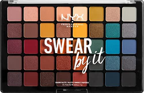 NYX Professional Makeup Palette Occhi Swear By It, Palette Ombretti, Smokey e Highlight, 40 Tonalità, Confezione da 1