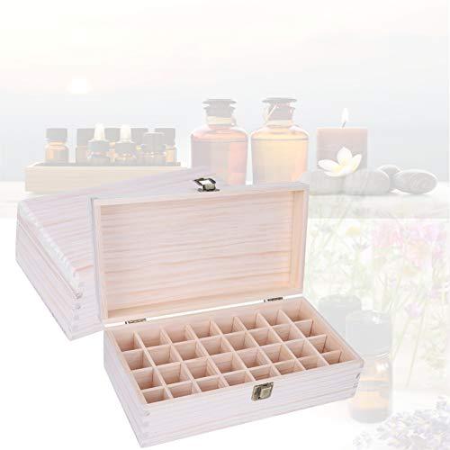 Contenitore per olio essenziale in legno da 32 griglie, portaoggetti in legno per salone di bellezza e uso domestico, scatola per custodia per trucco da 32 griglie