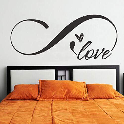 Adesivi murali, tatuaggi murali, amore infinito Adesivo murale Simbolo Testiera camera da letto Preventivo Decalcomanie in vinile Camera murale Carta da parati rimovibile Art Decor 57X24 cm