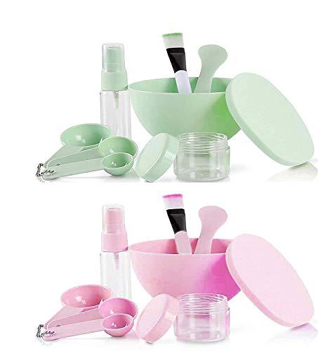 GCOA DIY maschere per il viso, kit di strumenti per la miscelazione del viso con spazzola in silicone per maschere facciali, ciotola, spatola, misuratore (verde e rosa, set da 2)