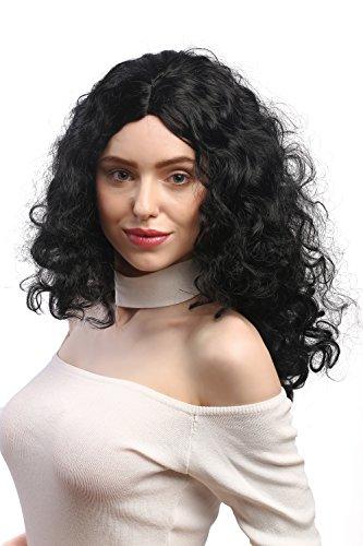 WIG ME UP - 3072-P103 Parrucca Donna Carnevale Ricci Super Volume Chioma Ricciuta Riga in Mezzo Nero 55 cm