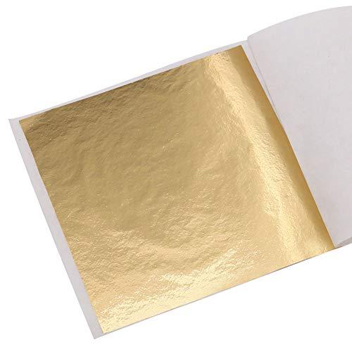 KINNO Foglia Oro 100 Fogli Foglia Oro per Lavori Artistici e Artigianali, Decorazioni per Unghie, Dipinti e Cornici per Foto 8X8.5CM (Oro A)