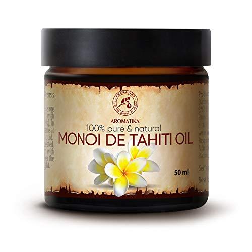 Olio di Monoi di Tahiti 50ml - Naturale e Puro al 100% - Cura per Viso - Corpo - Capelli - Pelle - uso Puro - Ottimo con Olio Essenziale - Aromaterapia - Relax - Massaggi - Ingredienti di Qualità