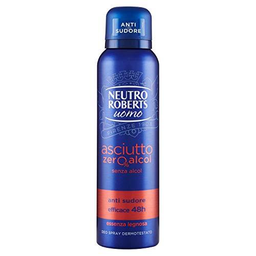 Neutro Roberts, Deodorante Spray Uomo Asciutto, Senza Alcool, Essenza Legnosa, Fresco e Asciutto per 48 Ore, Deodorante Uomo, Dermatologicamente Testato, Flacone da 150 ml