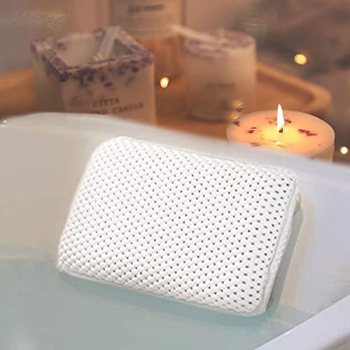 HANKEY Cuscino per Vasca da Bagno Premium con 8 Ventose | Poggiatesta in Materiale Morbido a Rete Impermeabile per Vasca da Bagno | Adatto a Qualsiasi Modello di Vasca | Colore Bianco