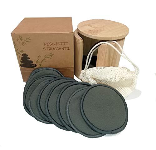 Dischetti Struccanti Lavabili, 16 Dischetti Neri Bamboo Cotone Riutilizzabili, Regalo Custodia Bambu, Sacchetto Lavatrice, 100% Ecologici Ecosostenibili Vegan Bio, No Waste