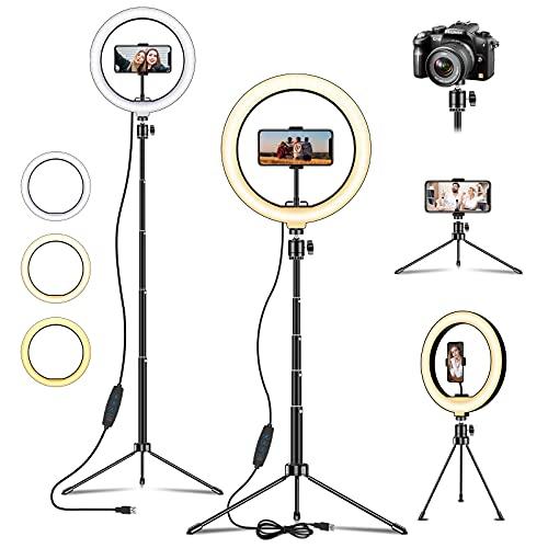 LED Ring Light, Deerfun Luce ad Anello Estendere 54.4 Pollici Treppiedi Luce per Selfie 3 Modalità di illuminazione con 10 Luminosità, per Trucco, Fotografia, Youtube e Video selfie