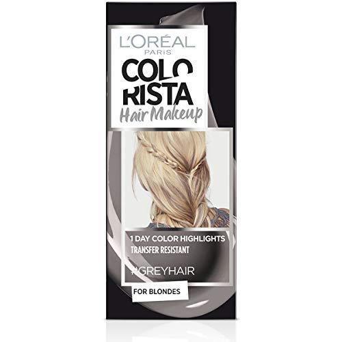L'Oréal Paris Colorista Hair Makeup Colorazione Temporanea 1 Giorno per Ciocche e Punte, Tinta per Capelli Biondi, Meches Grigio, 30 ml