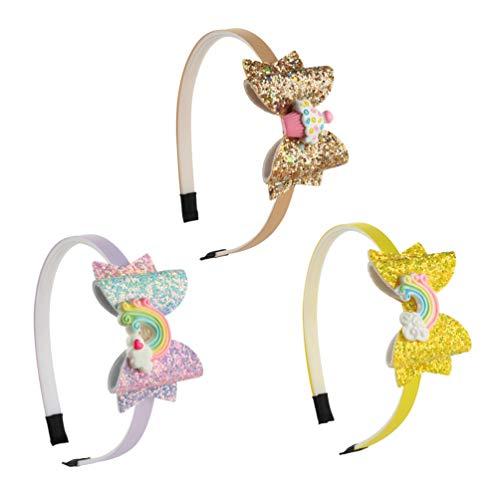 Minkissy cerchietti per capelli con fiocchi di paillettes glitter cerchi per capelli con arcobaleni arco nodo denti fasce per capelli in plastica per bambine 3 pezzi (modello 3)