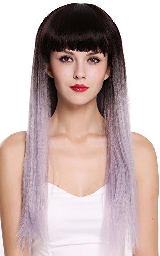WIG ME UP - RGF-6190-T4/GRAY Parrucca Donna Lunga Liscia Frangetta Ombre hair Castano scuro Lilla Grigio