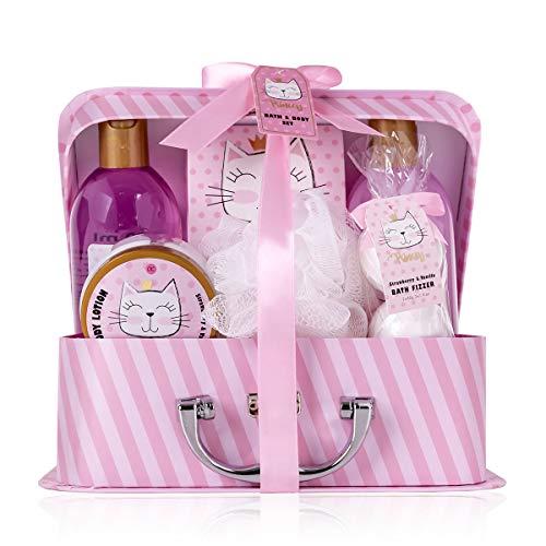 Accentra Set da bagno e doccia Princess Kitty per donne e ragazze, con dolce profumo di fragola e vaniglia, set regalo da 7 pezzi confezionato in una scatola di carta