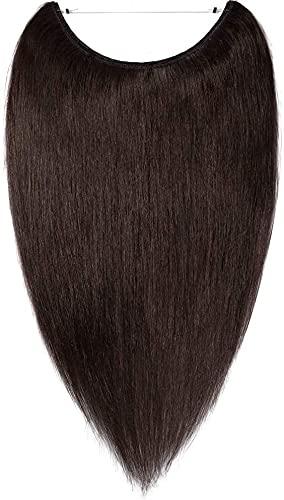 Extension Capelli Veri Filo Invisible Trasparente One Piece Fascia Unica - Remy Human Hair Naturali Lisci Wire in (45cm 65grammi #2 Marrone Scuro)