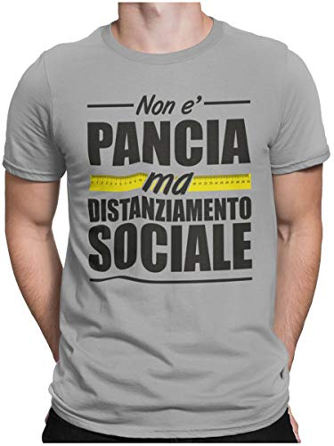 STAMPATEK Maglietta Divertente Non è Pancia Ma Distanziamento Sociale T-Shirt Idea Regalo Tshirt Estate Estiva Ironica Manica Corta