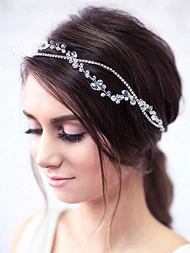 Simsly FS-148 - Cerchietto per capelli da sposa con strass, accessorio per capelli da ballo in cristallo per sposa e damigelle d'onore (argento)
