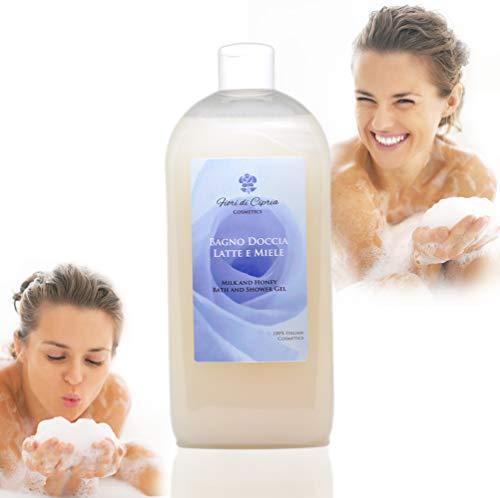 Il Miglior Bagnodoccia Nutriente per pelli sensibili. DERMOCOSMETICO MADE IN ITALY - Bagnoschiuma Latte e Miele, che Nutre, Idrata la Pelle di tutto il Corpo. Ottimo per bagno e doccia - 500ml