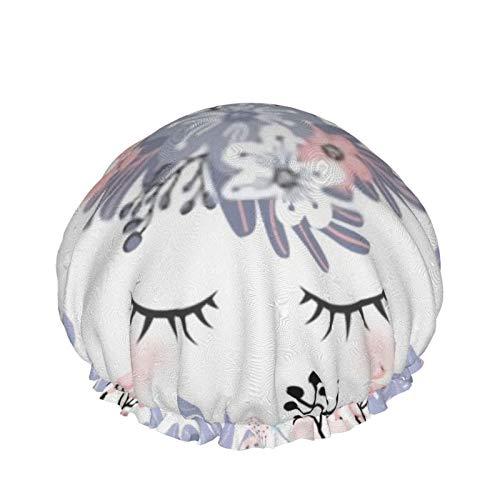Testa di unicorno carino con corona di fiori e corno glitter oro rosa Cuffia da doccia impermeabile per donne e ragazze, cuffia da bagno riutilizzabile per capelli per doccia Beauty Salon Spa Caps