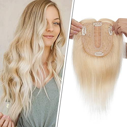 Silk-co Topper Capelli Donna Veri Umani Clip Extension Hair Topper 10x12cm Silk Base Toupet Capelli Veri 40cm-50g #60 Biondo Platino