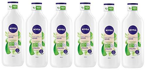 NIVEA Naturally Good Crema Corpo Idratante all'Aloe Naturale in confezione da 6 x 350 ml, Crema idratante con Aloe Vera, Idratazione intensa per pelle normale o secca