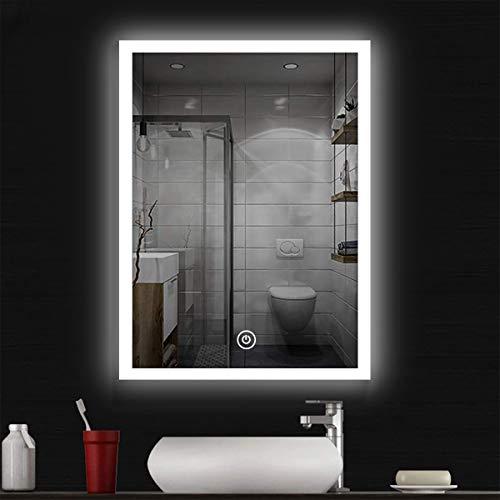 COCOCOFLY - Specchio da bagno a LED, specchio da parete, per il trucco, lampada luminosa a LED, con interruttore touch, 3 colori, IP44, 60 x 80 cm