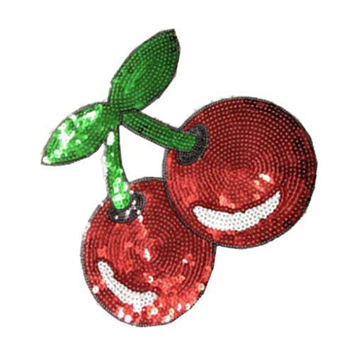 rongweiwang Ciliegie Modello Vestiti Patch Bella Paillettes incollare Patch Panno Rosso di Applique Costume Incolla Fai da Te a Mano Opere Tatuaggi